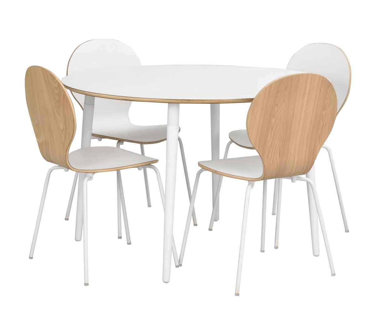Rowico Fusione Ronde Eettafel 115 Cm- Wit HPL Tafelblad - Witte Poten