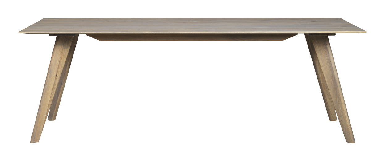 Rowico Franklin Eettafel - Eiken Tafelblad - L220 X B100 X H74 Cm - Grijs