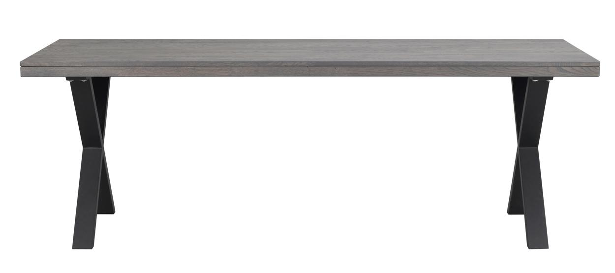 Rowico Brooklyn Eettafel - Bruin Eiken Tafelblad - Metalen X-frame - L220 X B95 X H75 Cm