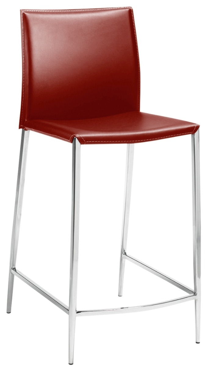 24Designs Barkruk Jesse - Zithoogte 75 Cm - Rood Leer - Chromen Onderstel
