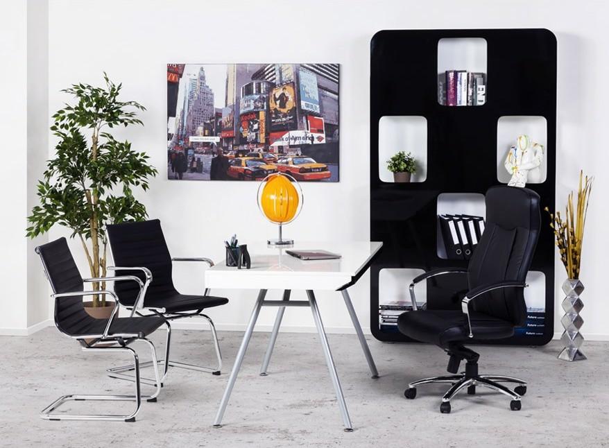 24Designs Bureaustoel Lucano - Zithoogte 45 - Kunstleer - Zwart