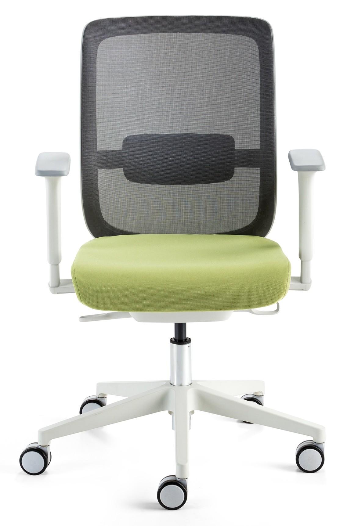 24Designs Bureaustoel Modena - Lichtgrijs - Groene Zitting
