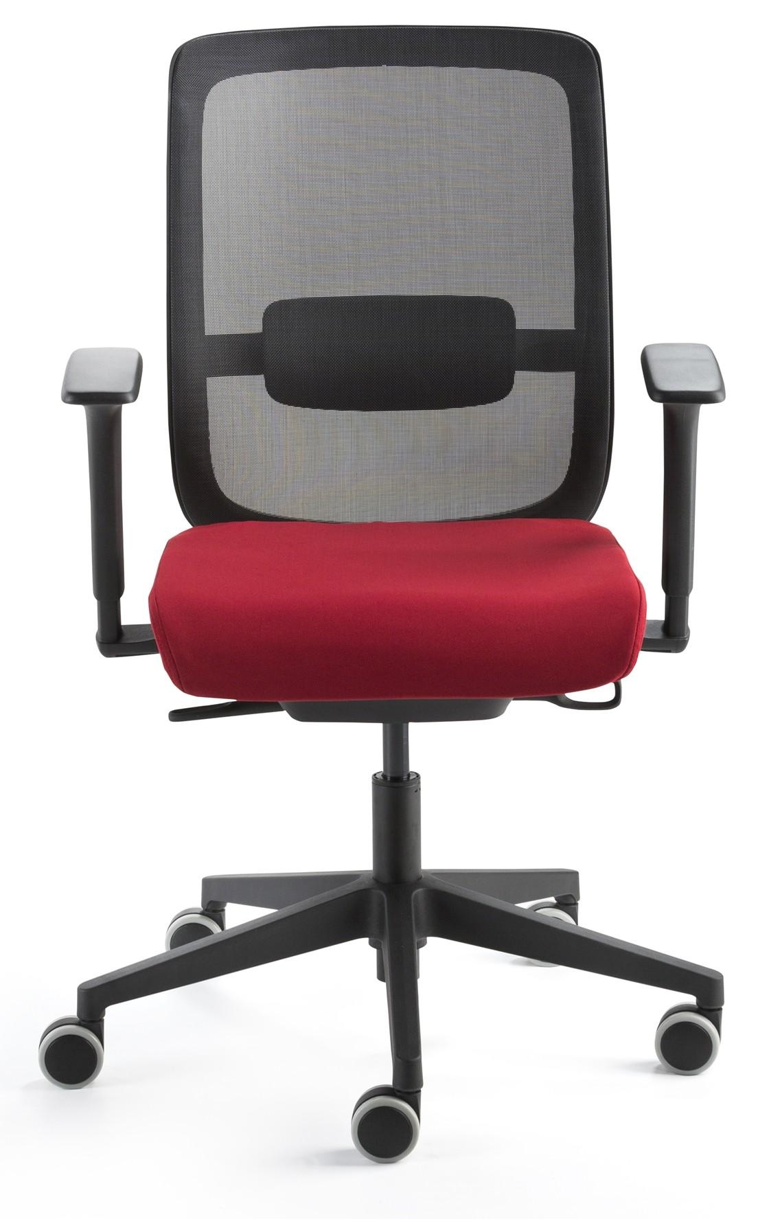 24Designs Bureaustoel Modena - Zwart - Rode Zitting