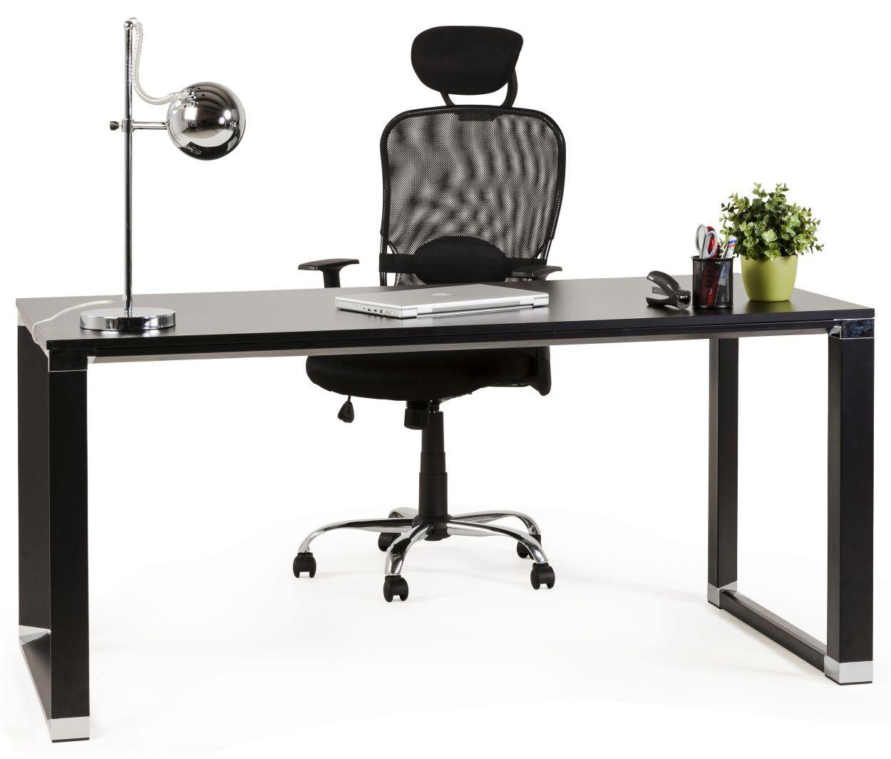 24Designs Bureaustoel Rivoli - Hoofdsteun - Gestoffeerd Zwart