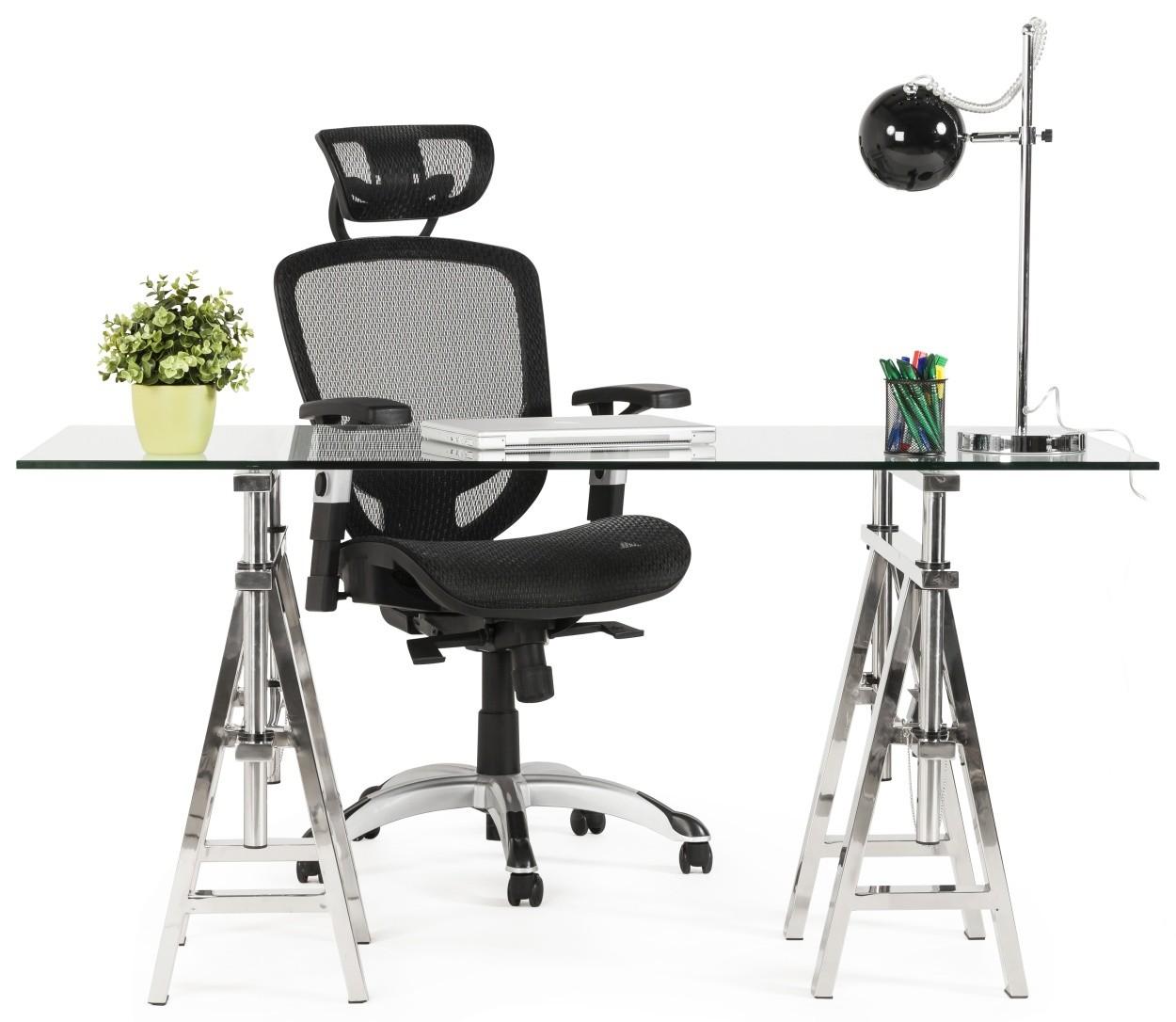 24Designs Bureaustoel Fondi - Hoofdsteun - Netwave Stof Zwart
