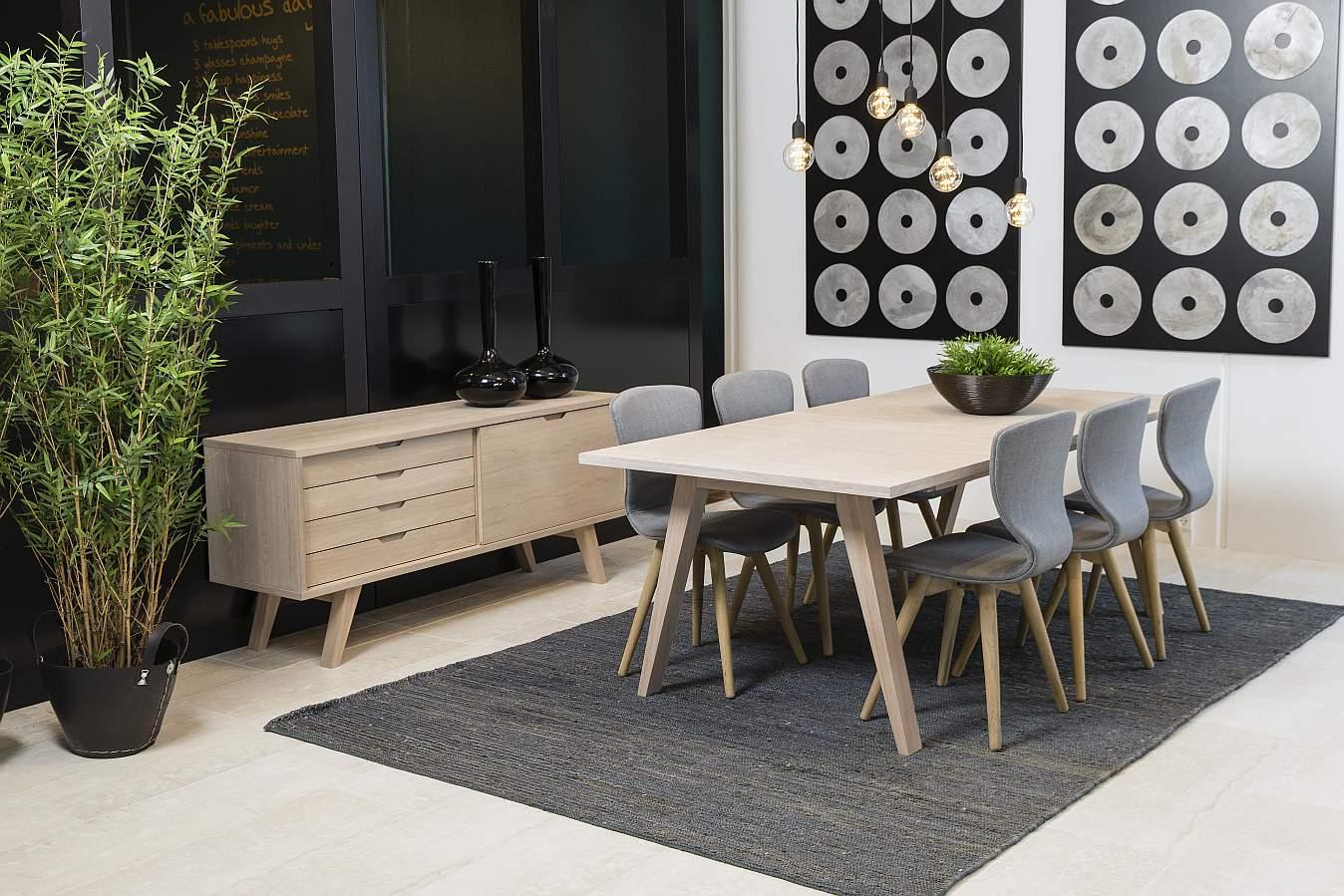 24Designs Bornholm Uitschuifbare Eettafel 210 - 310 Cm X D100 X H74 Cm - Eiken White Wash