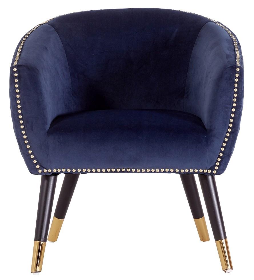 24Designs Fauteuil Claudette - Blauw Fluweel - Zwarte Houten Poten