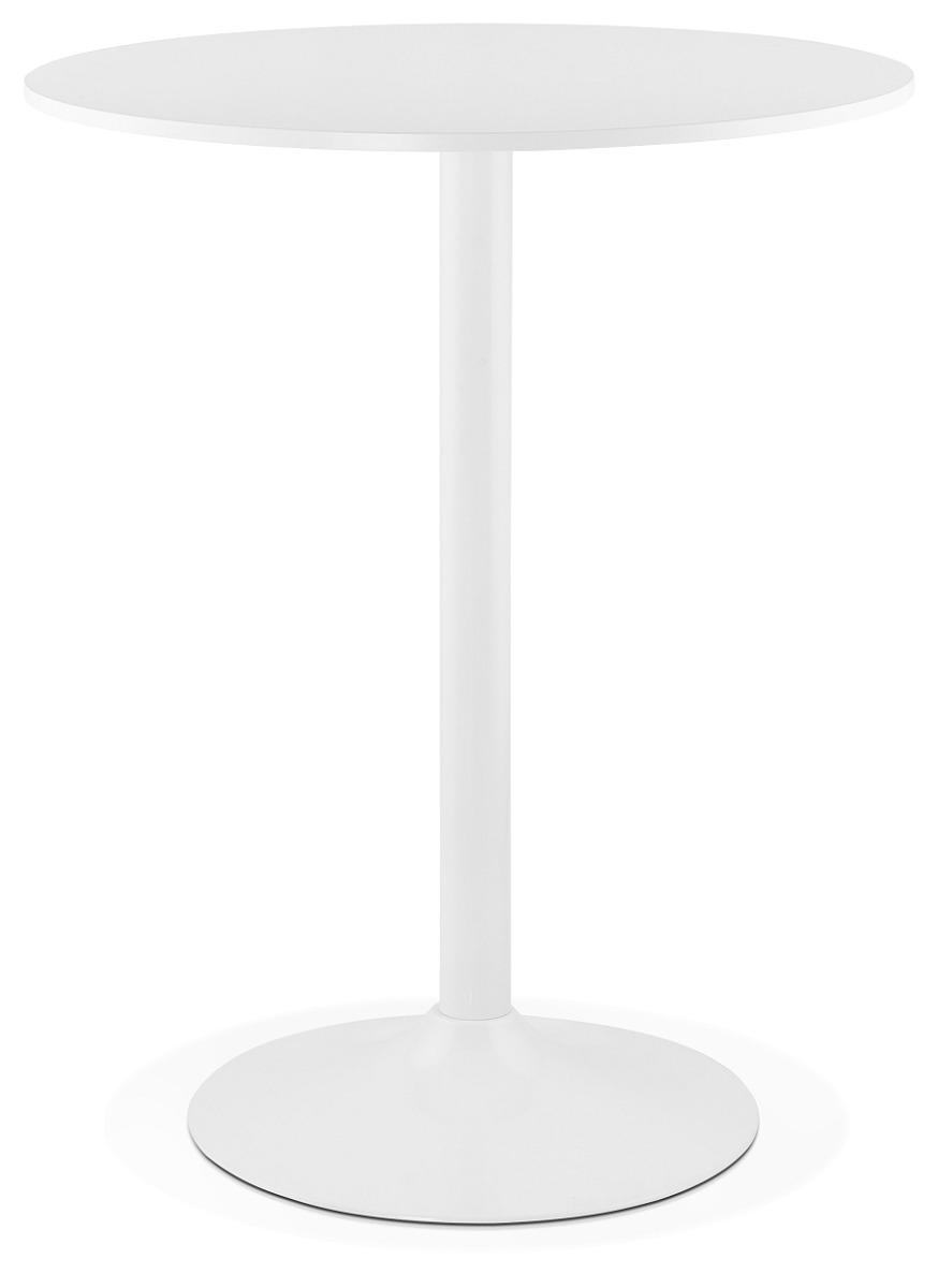 24Designs Felix Statafel H110 Cm - Rond Tafelblad 90 Cm Melamine - Wit Metalen Onderstel