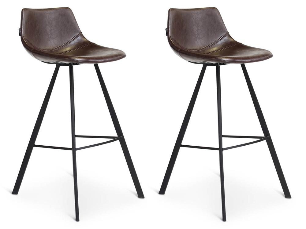 24Designs Harper Barkruk - Set Van 2 - Zithoogte 75 Cm - Duo Bruin Kunstleer