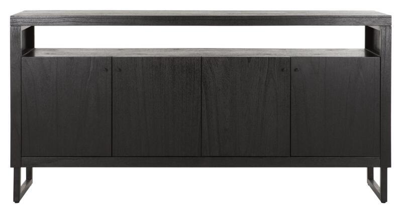 24Designs Night Dressoir 4-deurs - 180x40x90 - Zwart Mindi Hout