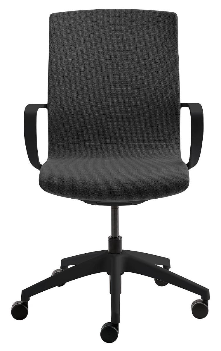 24Designs Noor Bureaustoel - Stof Antracietgrijs - Zwarte Kruispoot