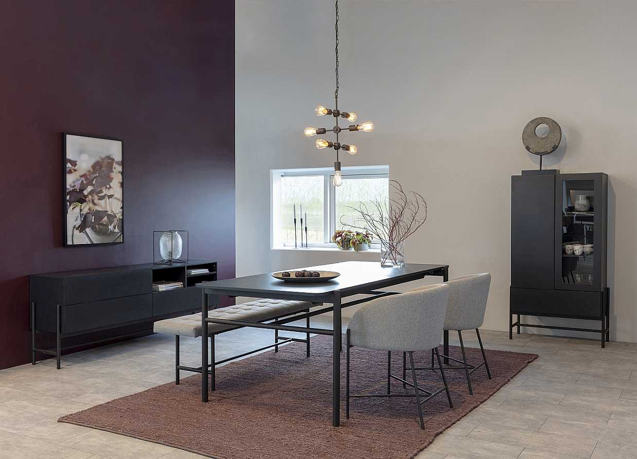 24Designs SALE - Norway Dressoir 3-Laden/3-Vaks - 185x42x70 - Zwart