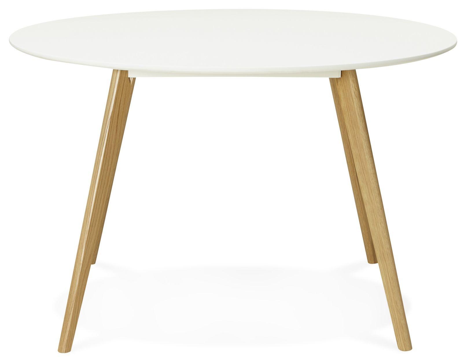 24Designs Ronde Eettafel Lilly -Ø120x75 - Wit Tafelblad - Eiken Poten
