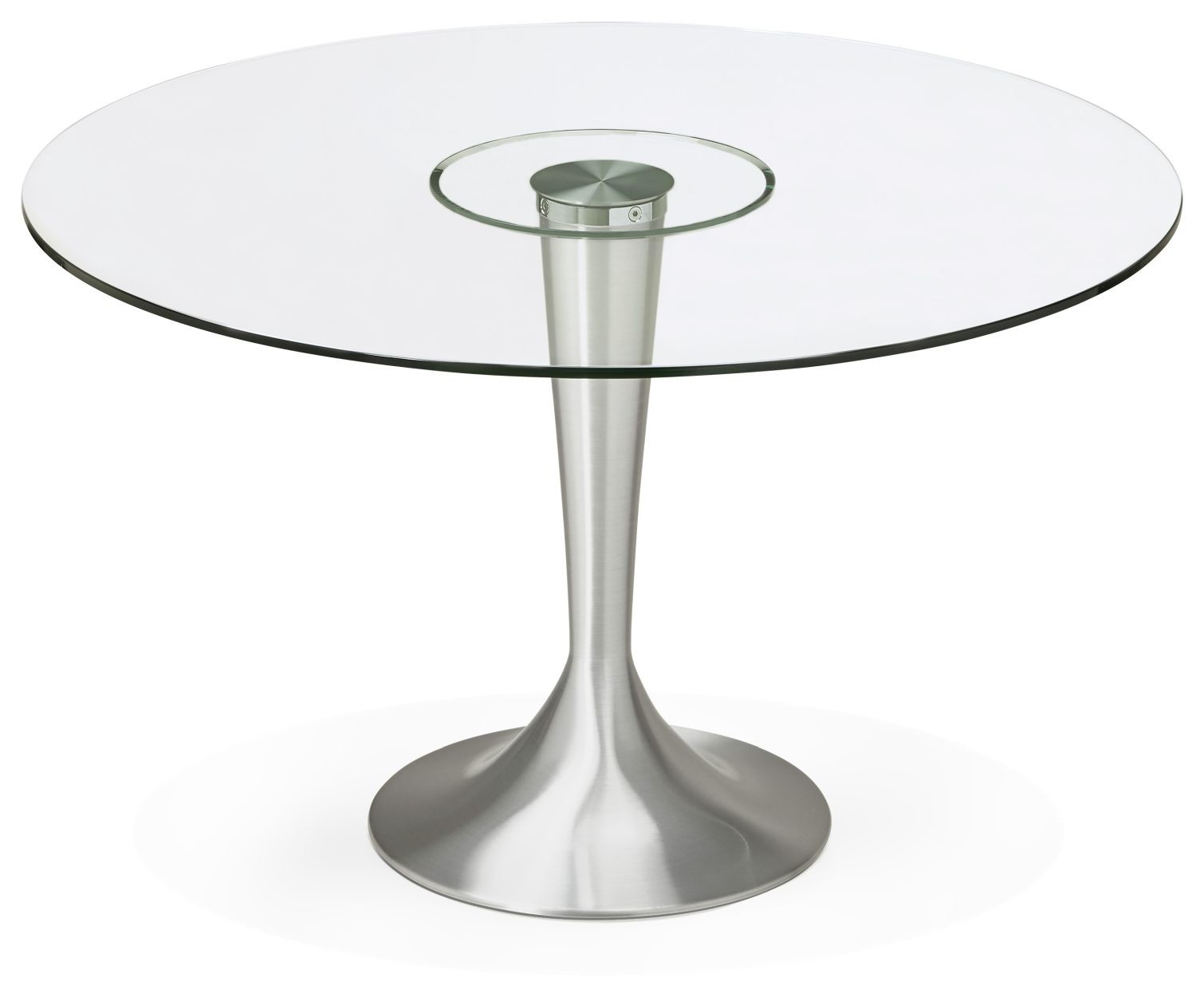 24Designs Ronde Eettafel Ravi -Ø120x76 - Glazen Tafelblad - Aluminium Onderstel
