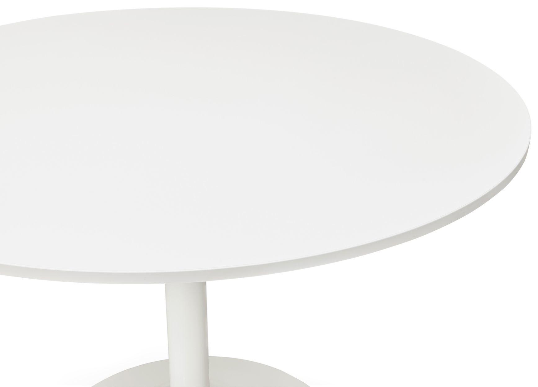 24Designs Ronde Tafel Alonso -Ø120x77 - Wit Tafelblad - Witte Trompetvoet
