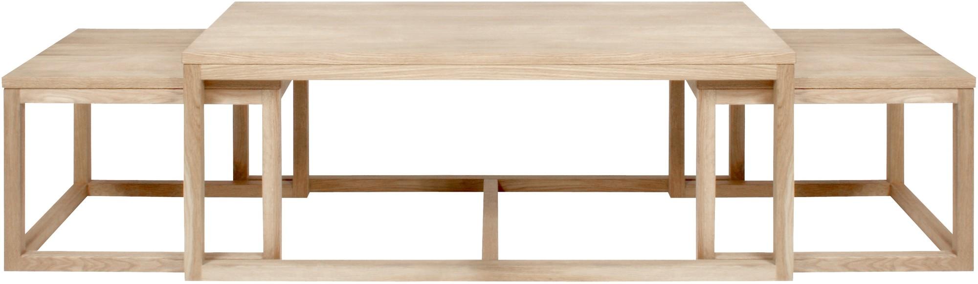 24Designs Set 3 Salontafel Valda - L120 X B60 X H50 Cm - Eiken Whitewash