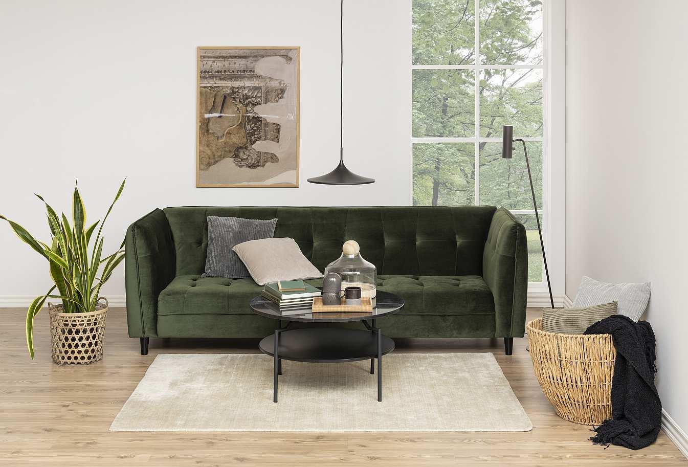 24Designs - Slaapbank Coco - Bosgroen Fluweel - Zwarte Houten Poten