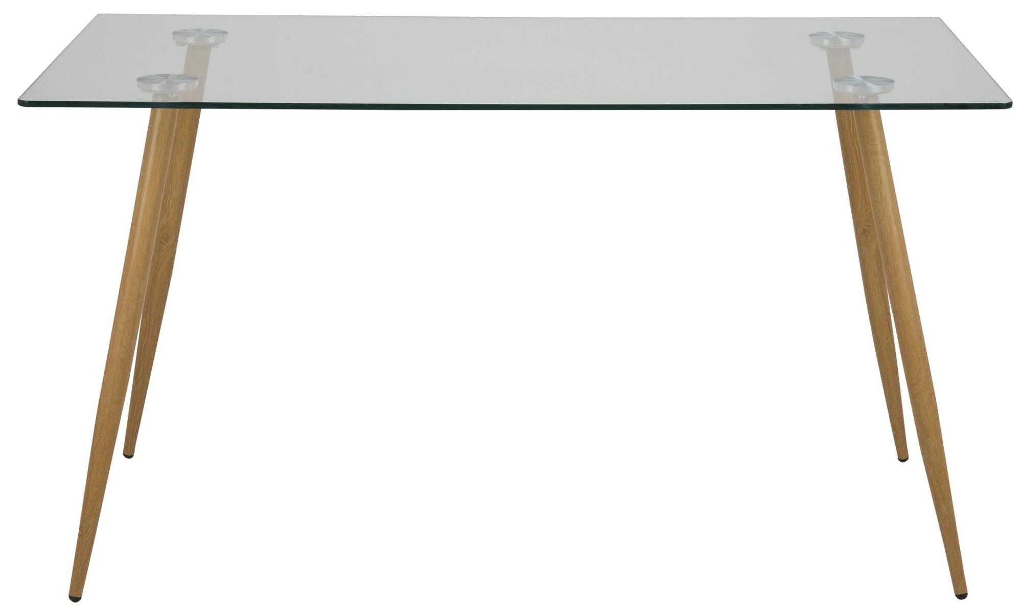 24Designs Tafel Christin - L140 X B80 X H75 Cm - Bruine Poten - Helder Glas