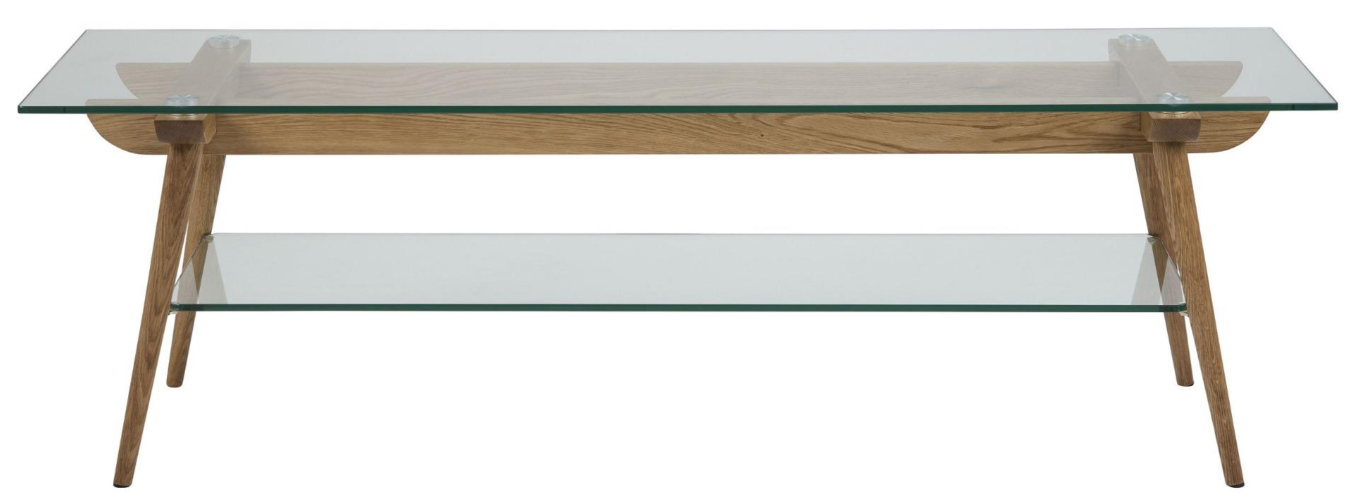 24Designs TV-Meubel Alvar - L160 X B45 X H50 Cm - Glazen Tafelblad - Eikenhouten Poten