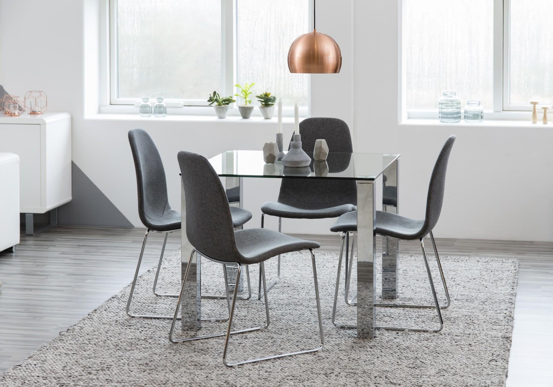 24Designs SALE - Tafel Crystal - 90x90x75 - Glazen Tafelblad - Chromen Poten
