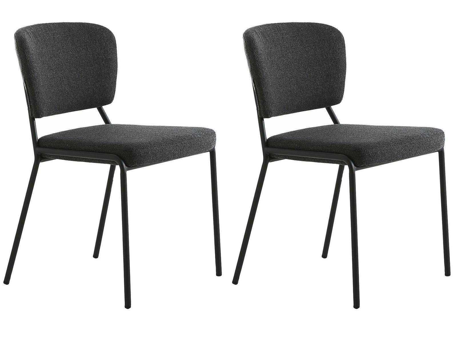 24Designs Burlington Stoel - Set Van 2 - Stof Donkergrijs - Mat Zwarte Metalen Poten