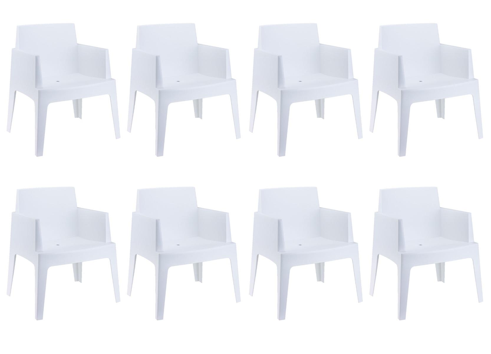 24Designs Set 8 Tuinstoelen Box - Wit