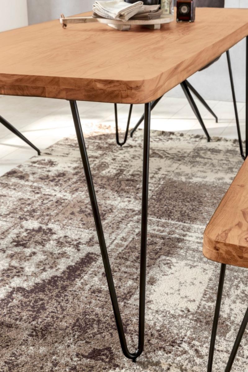 24Designs Bryson Tafel 160x80x76 - Acacia Hout Blad - Metalen Poten