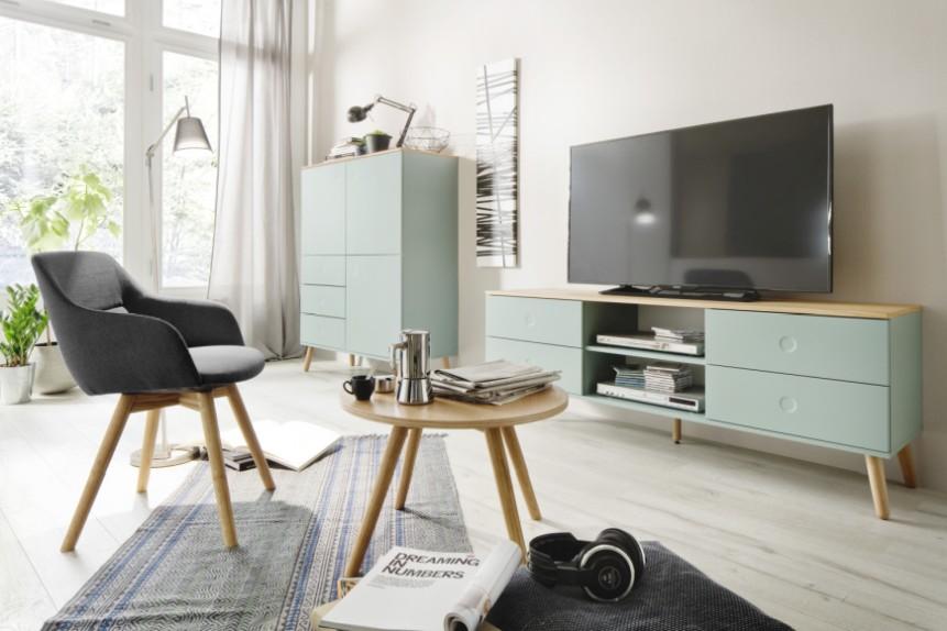 Tenzo TV Meubel Dot 4-Laden - 162x43x60 - Saliegroen - Eiken Poten