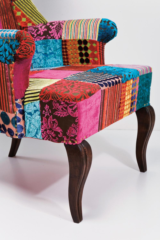 Kare Design Fauteuil Wing Patchwork Velvet - Multi