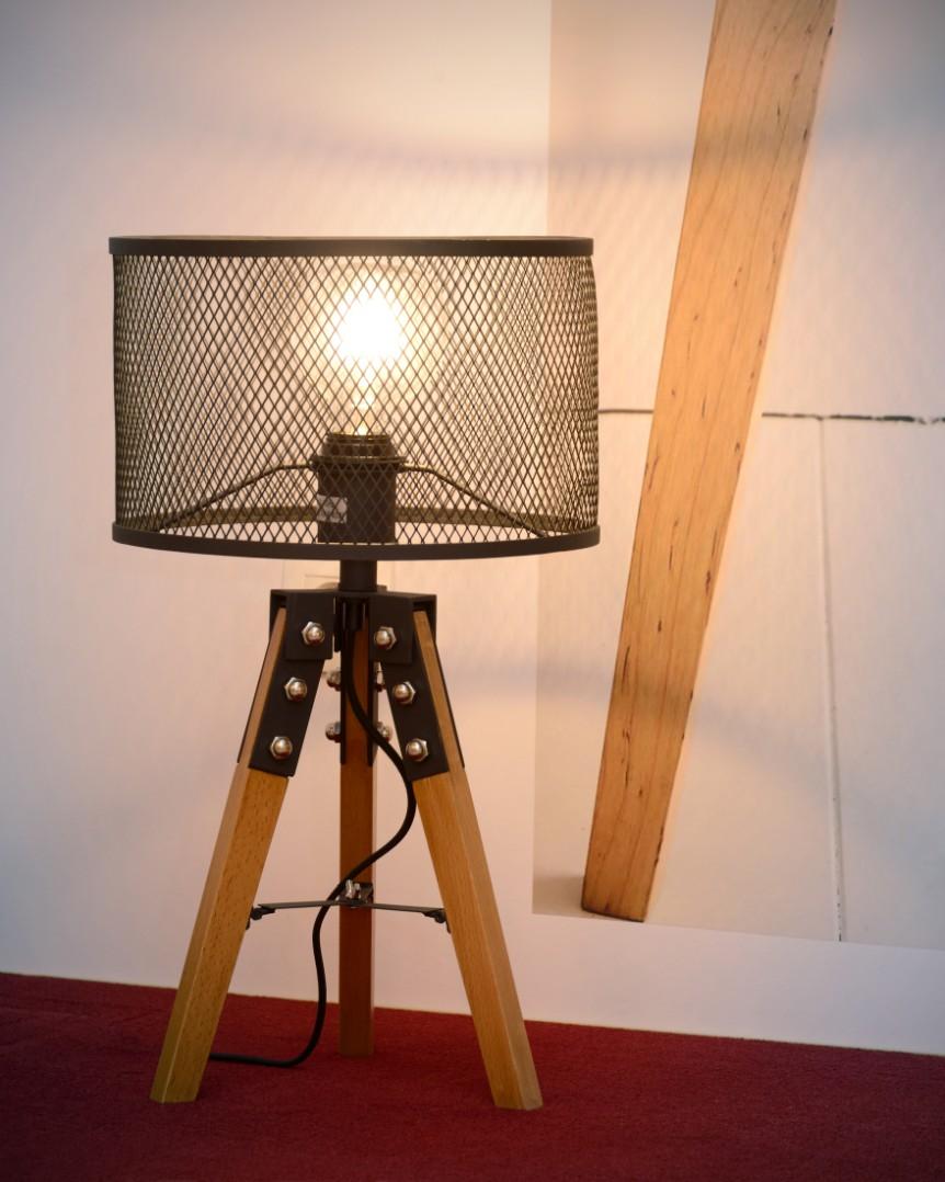 Lucide Tafellamp Aldgate 1-LichtsØ29 X H51 Cm - Hout Zwart