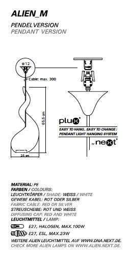 Next Hanglamp Alien M - Wit - Kabel Rood
