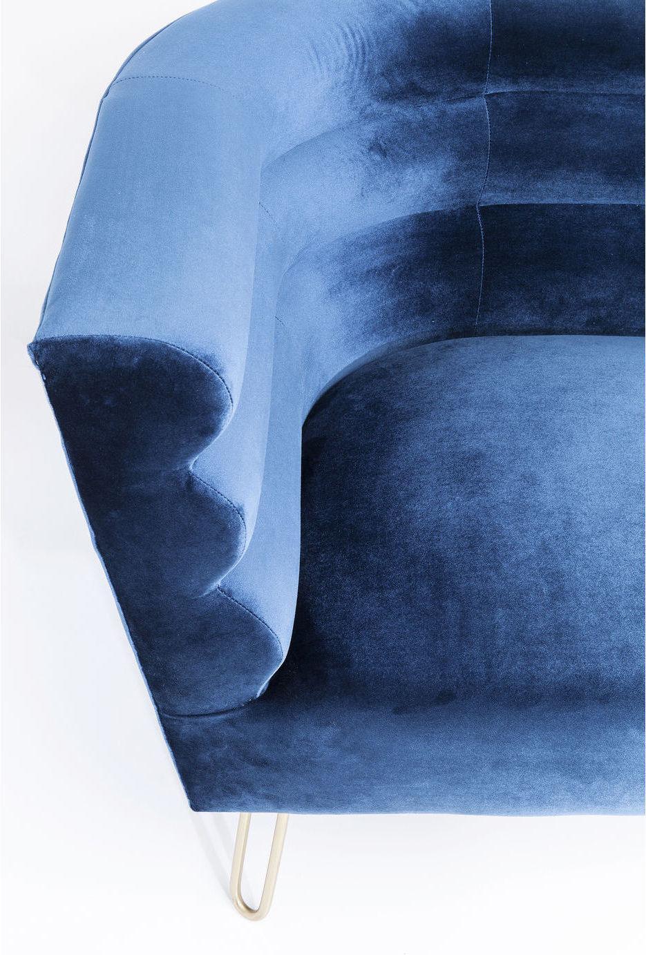 Kare Design Monaco 2-Zits Bank B160 Cm - Fluweel Blauw