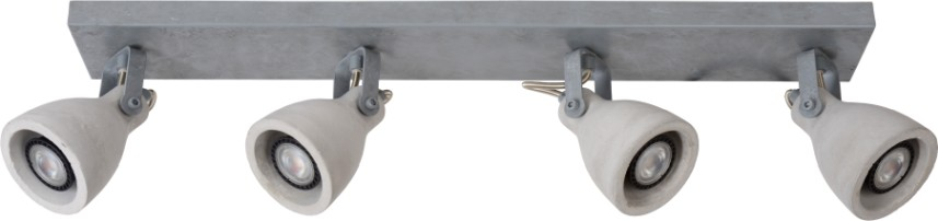 Lucide Plafondspot Concri-LED GU10 4-Lichts Dimbaar - Grijs