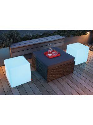 Moree Cube Outdoor Bijzettafel met Multicolor LED - L44 x B44 cm