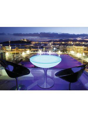 Moree Lounge Outdoor LED Pro Eettafel met Accu - Ø84 x H75 cm – Wit