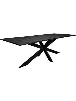 24Designs Nevio Eettafel L220 x B100 x H78 - Tafelblad Zwart Mangohout - Zwart Metaal