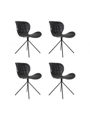 Zuiver OMG LL Stoelen Zwart - Kunstleer - Set van 4 Aanbieding - NU met Gratis vloerdoppen
