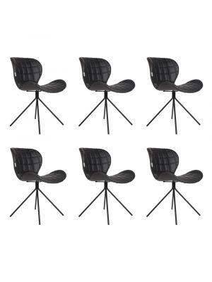 Zuiver OMG LL Stoelen Zwart Kunstleer - Set van 6 Aanbieding - NU met Gratis vloerdoppen