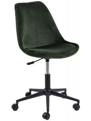 24Designs Denis Office Velvet - Kuipstoel Fluweel Groen - Zwart Metalen Kruispoot - Op Wielen