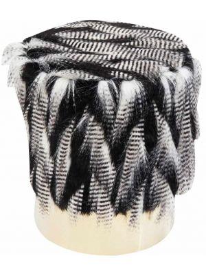 Kare Design Cherry Poef - Ø35x42 - Skunk Zwart-Wit - Messing