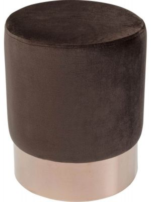 Kare Design Cherry Poef - Ø35x42 - Bruin Fluweel - Koperkleur