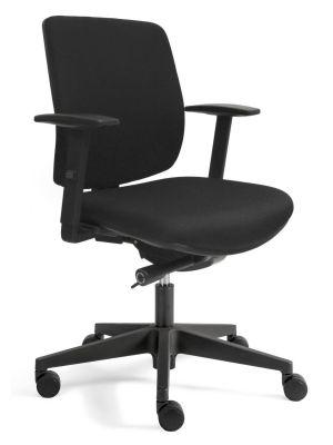 24Designs Bremen Economy Bureaustoel EN1335 - Stof Zwart - Zwart Onderstel