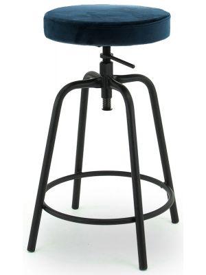 24Designs Rexley In Hoogte Verstelbare Velvet Barkruk - Donkerblauw Fluweel