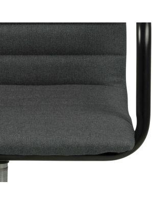 24Designs Winston Bureaustoel - Donkergrijs Stof - Zwart Metalen Kruispoot met Wielen