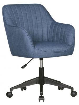 24Designs Marit Bureaustoel - Blauwe Stoffen Zitting - Kunststof Kruispoot