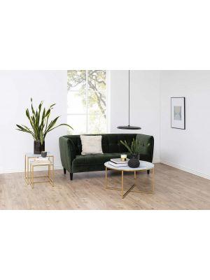 24Designs Set (2) Bijzettafels Olivia - Glas met Marmer Print - Goudkleurig Chroom