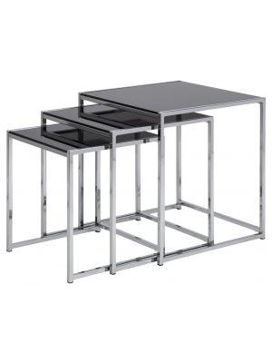 24Designs Set (3) Bijzettafel Criss Cross - Zwart Glazen Tafelblad Chromen Onderstel