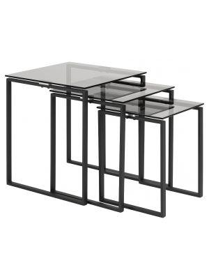 24Designs Set (3) Bijzettafels Serenity - Smoke Glas - Mat Zwart Metalen Onderstel