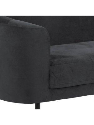 24Designs Bilston 3-Zits Velvet Bank - Fluweel Antracietgrijs - Zwarte Metalen Poten