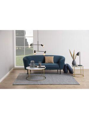 24Designs Bilston 3-Zits Velvet Bank - Fluweel Donkerblauw - Zwarte Metalen Poten